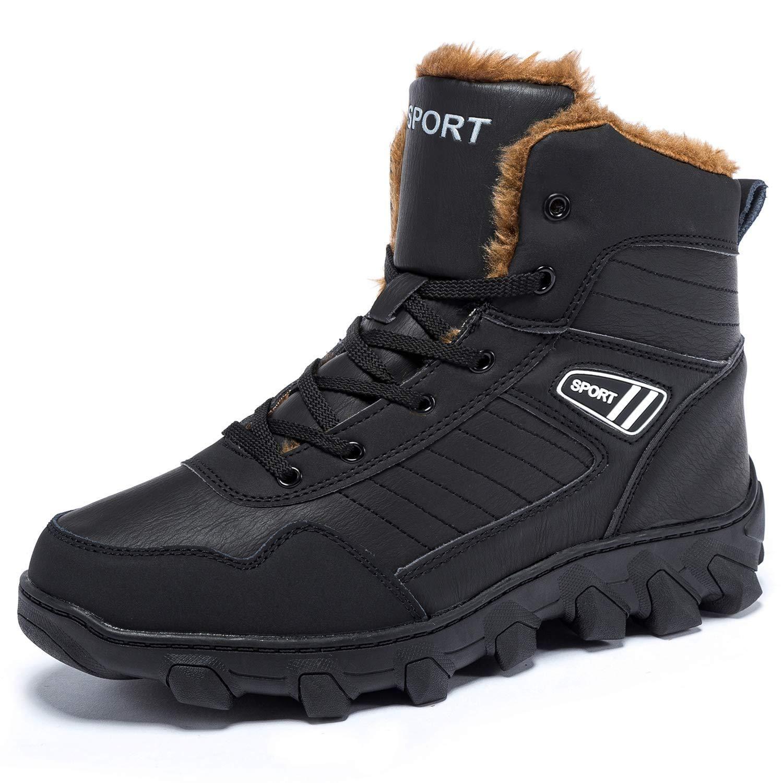 cee988ff40b IKENIP Mens Snow Boots Anti-Slip Outdoor Fur Lined Warm Water ...