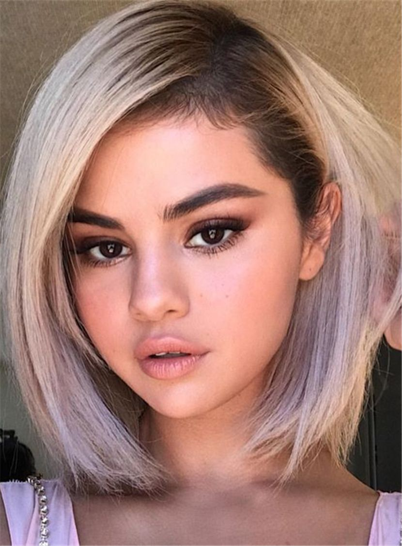 Selena Gomez Newest Hairstyle Bob Wigs Synthetic Hair Straight ...