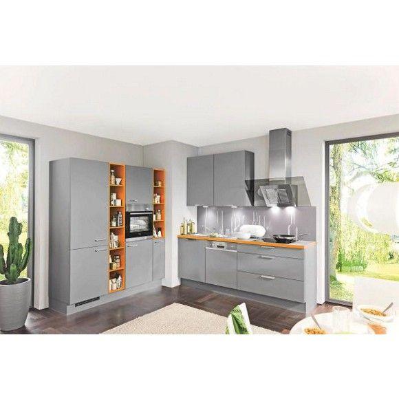 Moderne Küche in Grau und Orange von CELINA Küchenblöcke Pinterest - küchenblock mit elektrogeräten