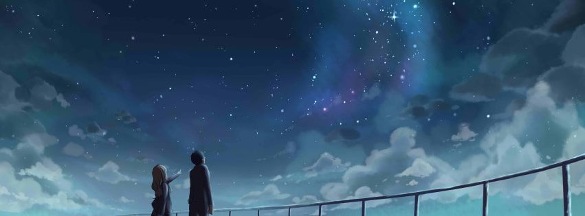 Anime Your Lie In April Watching Stars Facebook Cover Anime Cover Photo Twitter Cover Photo Free Facebook Cover Photos