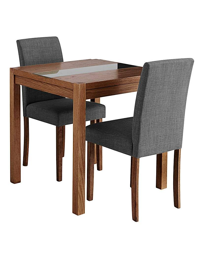 Oakham Glass Panel Square Table 2 Chairs Dining Room Chairs