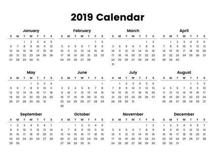 Easy To Print Full Year Calendar For 2019 With A Minimal Design Focusing On The Dates Printable Mini Calendar 2019 Calendar 2020 Full Year Calendar Calendar