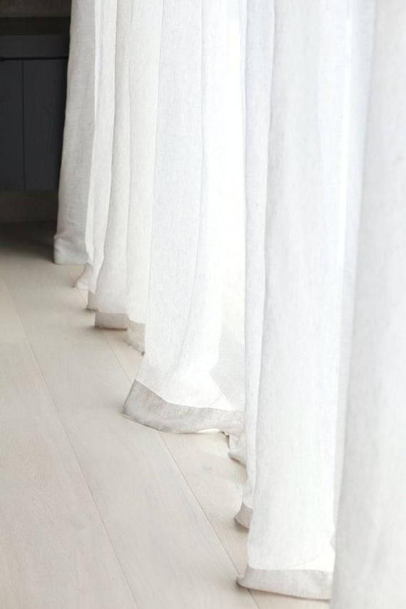 A Pair Of White Linen Sheer Curtains Sheer Curtain Panels Sheer