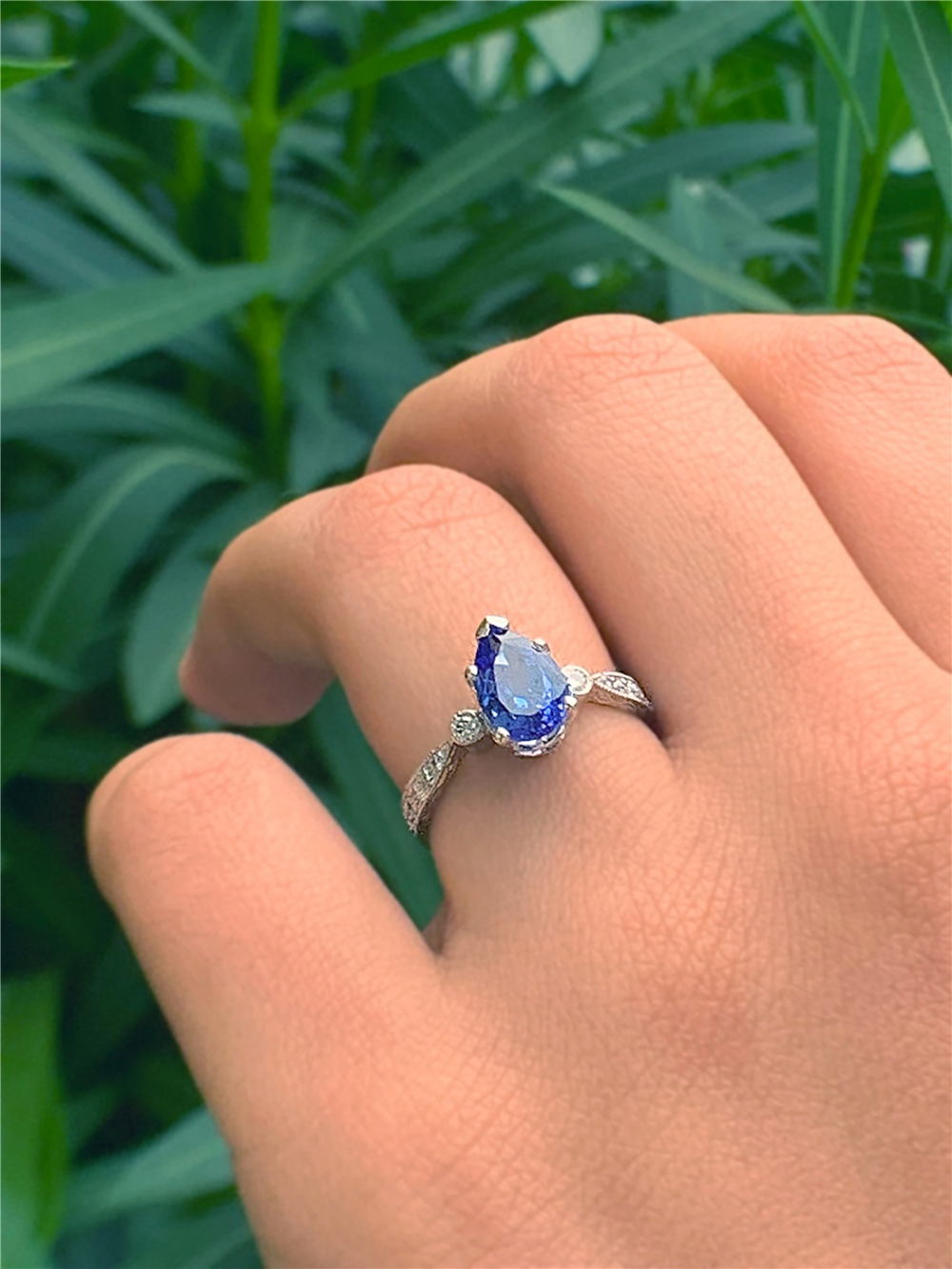 Ladies Platinum Diamond Vintage Style Tanzanite Ring in