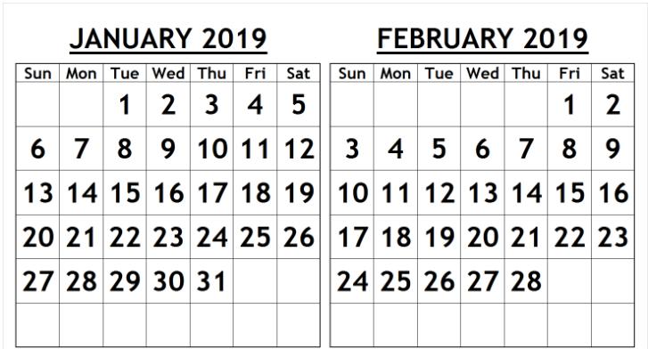 Calendar 2019 January And February Printable January February 2019 Calendar PDF | 100+ January and February