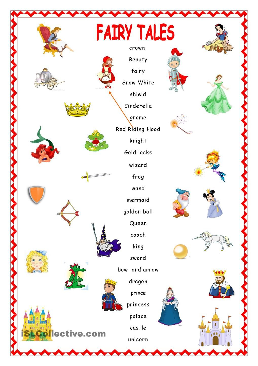 Fairy Tales Matching Pz Pinterest Fairy Worksheets