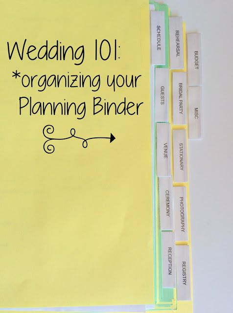 A List Of Tabs Headings And Sub Categories You Might Want To Include In Your Wedding Planning Binder