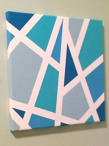 Easy Diy With Masking Tape Canvas And Acrylic Paint Simple Canvas Paintings Canvas Painting Diy Easy Canvas Art
