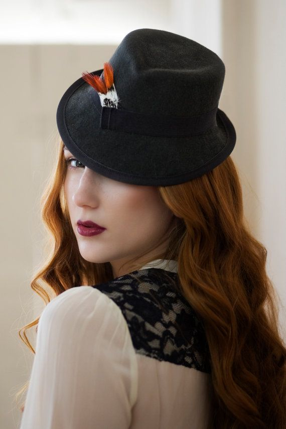 Mini Trilby Hat with Feather Detail AW13 by MaggieMowbrayHats ... ec7b897458a6