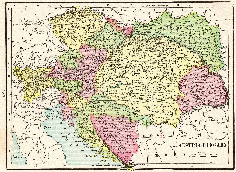 1901 Antike Osterreich Karte Crams Karte Von Osterreich Und Ungarn
