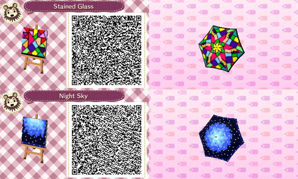 ACNL Stain Glass and Night Sky Umbella QR Codes by ACNL