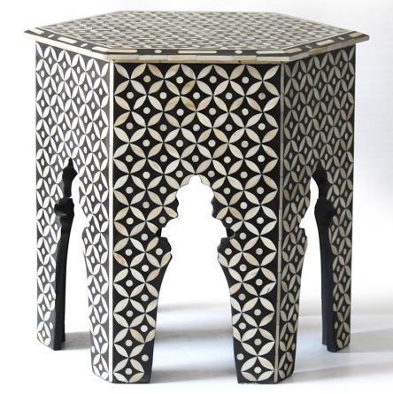 Large Bone Inlay Hexagonal Table Geometric Black Bone Inlay