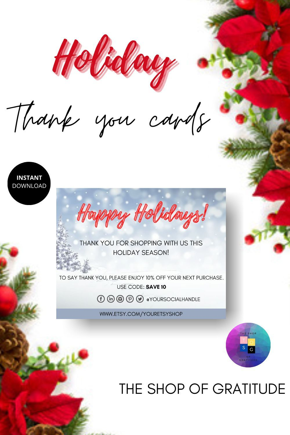 Happy Holiday Thank You Cards For Small Business Printable Thank You Cards Thank You Card Template Thank You Cards