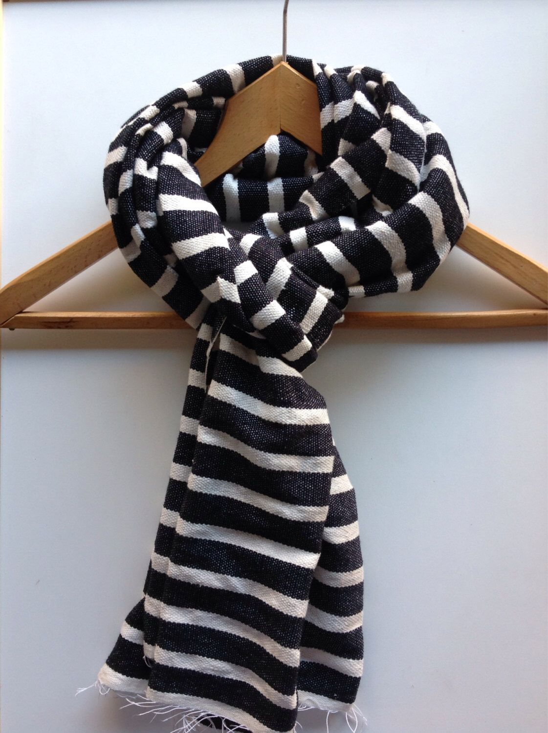 Striped Wool Muffler Scarf Shawl Black White