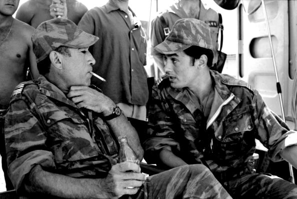On the set of Lost Command; with Anthony Quinn.