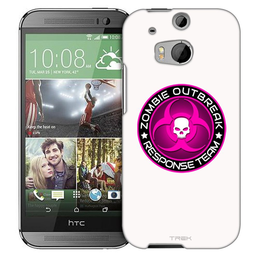 HTC One M8 Zombie OutBreak Response Team Pink on White Slim Case