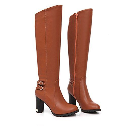 Try this:  Smapavic Womens Winter Trendy PU Leather Chunky High Heel Knee High Riding Boots