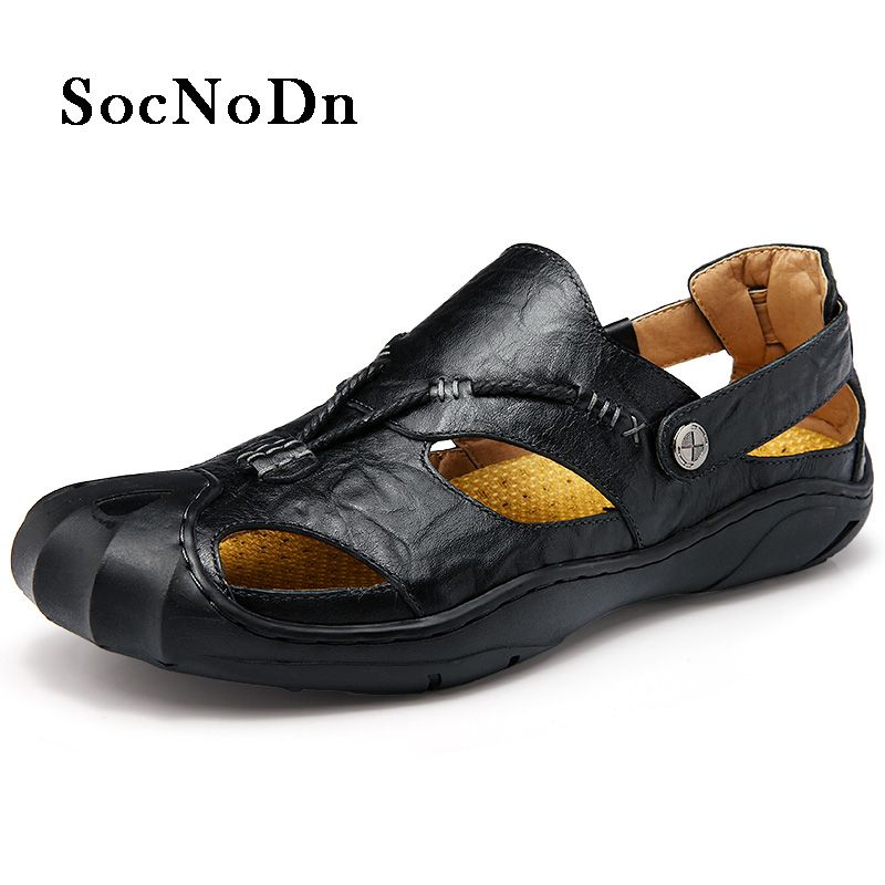 e6433144452 SocNoDn Men Leather Sandals Outdoor 2018 Summer Handmade Shoes for Male  Breathable Casual Footwear Slip On Walking Sandals