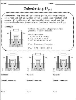 Galvanic cells standard reduction potential ecell handout and galvanic cells standard reduction potential ecell handout and worksheet galvanic cell worksheets and chemistry fandeluxe Gallery