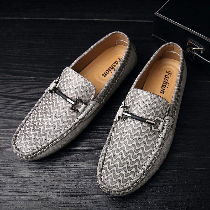 US $27 New Arrival Brand Men Horsebit Loafer Shoes Slip-on Gentlemen Moccasins Soft Flat Driving Beautiful Pattern High Quality