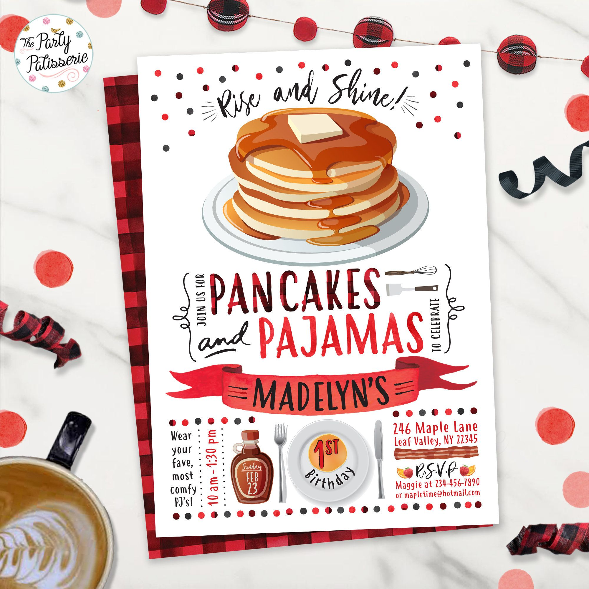 Printable Pancake Party Invite Digital File Pajama Party Sleepover Party Sleepover Pancakes and Pajamas Party Birthday Invitation