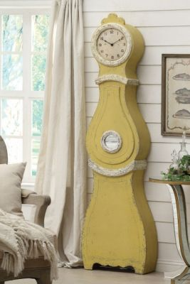 Distressed Yellow Standing Clock by Distressed @Luvocracy |
