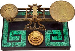 Gilt bronze postal scale by