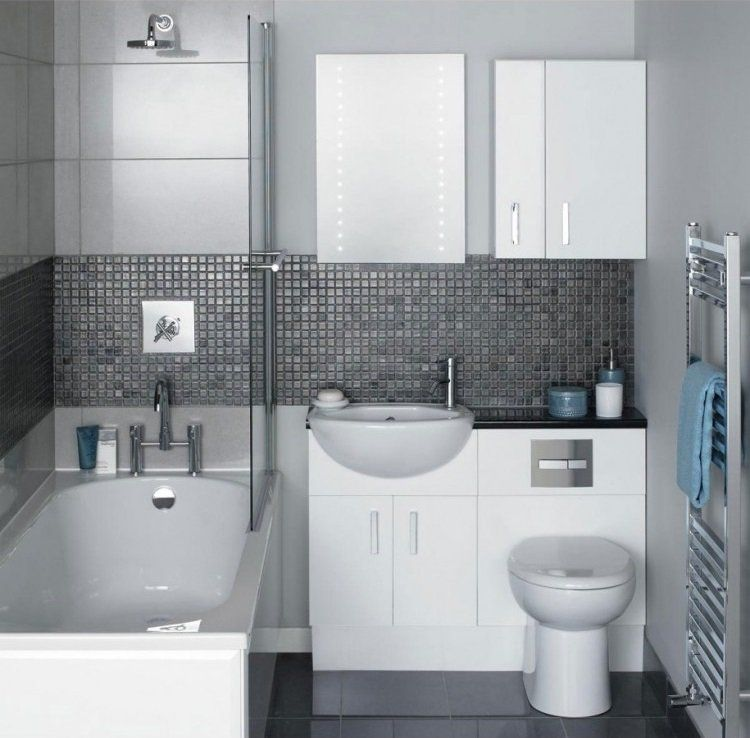 Comment agrandir la petite salle de bains \u2013 25 exemples House - Salle De Bain Moderne Grise