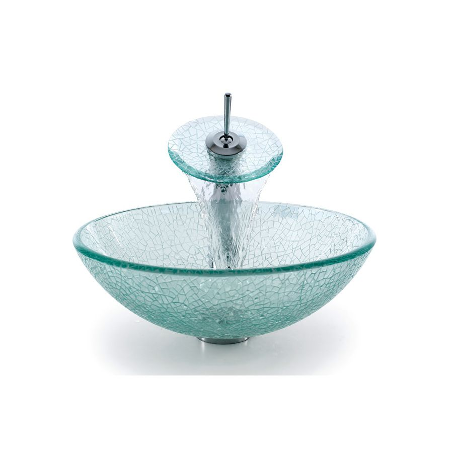 Kraus Mosaic Glass Tempered Glass Vessel Round Bathroom Sink With ...