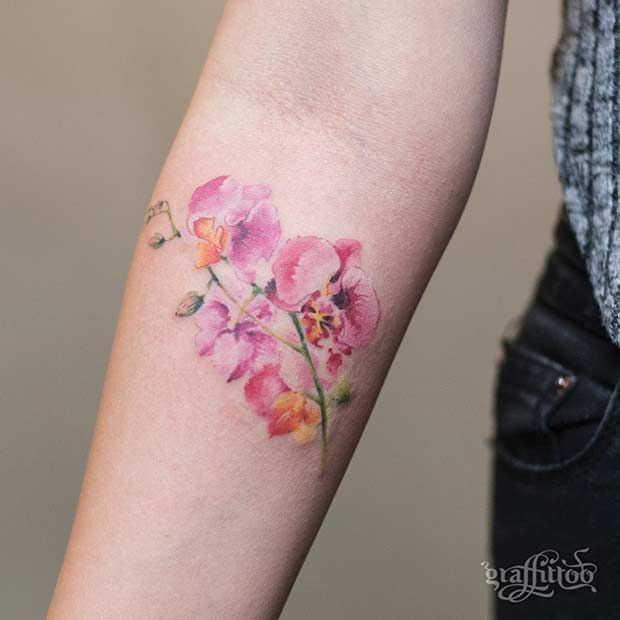 47 Breathtaking Watercolor Flower Tattoos Orchid Flower Tattoos