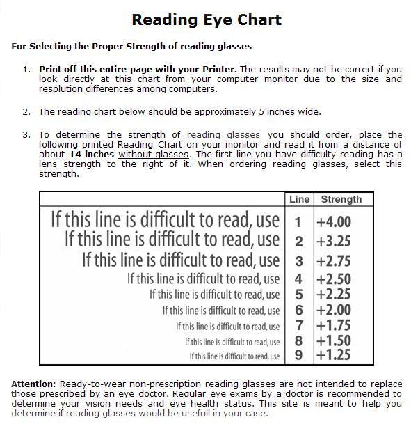 Reading Eye Chart Printout Readers Eyes Reading Glasses Eye Chart