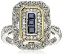 Sterling Silver and 14k Yellow Gold Blue Sapphire and Diamond-Accent Art Deco Style Ring (0.11 cttw, I-J Color, I3 Clarity), Size 6