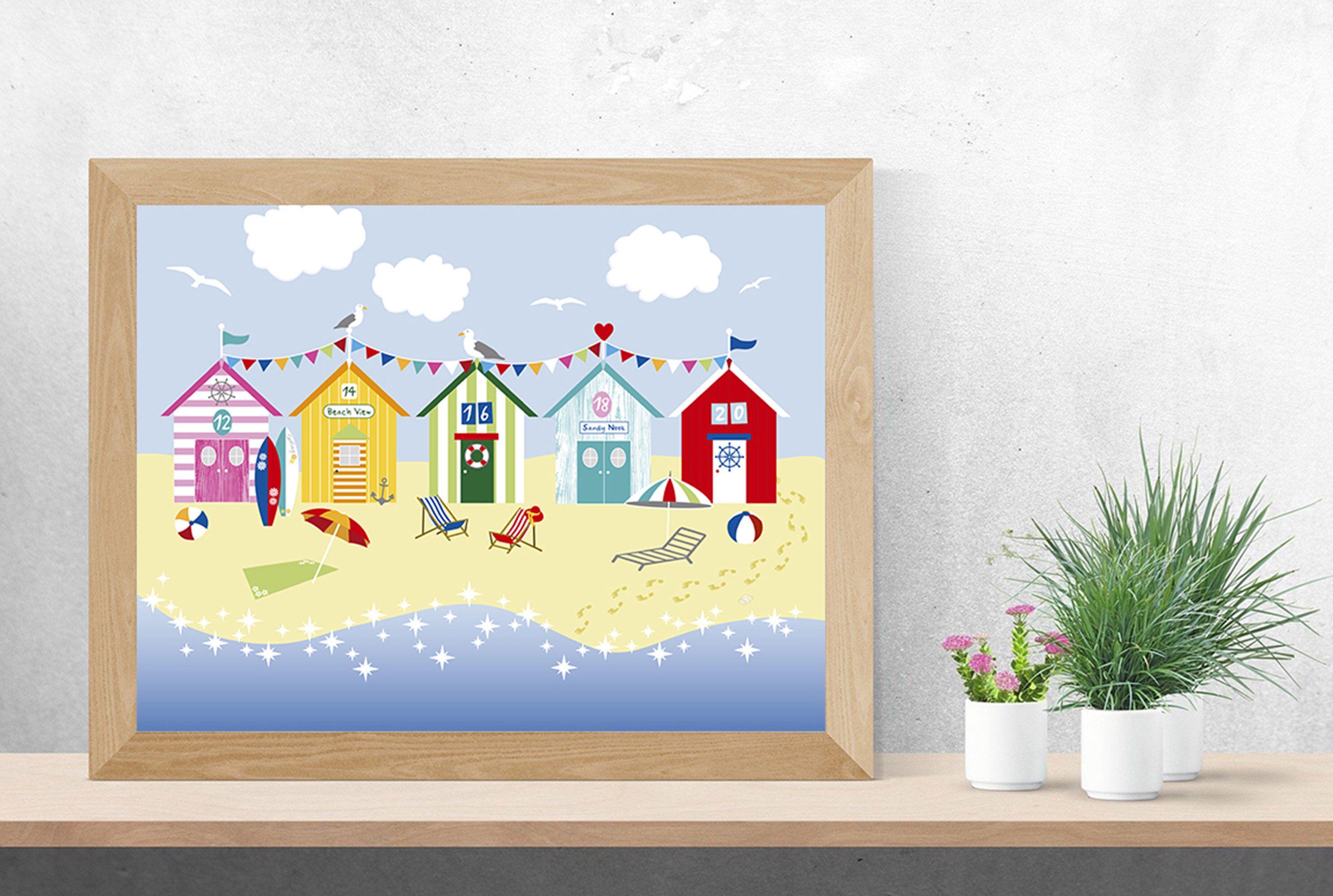Beach Huts Wall Art Summer Printable Art Colourful Prints Wall