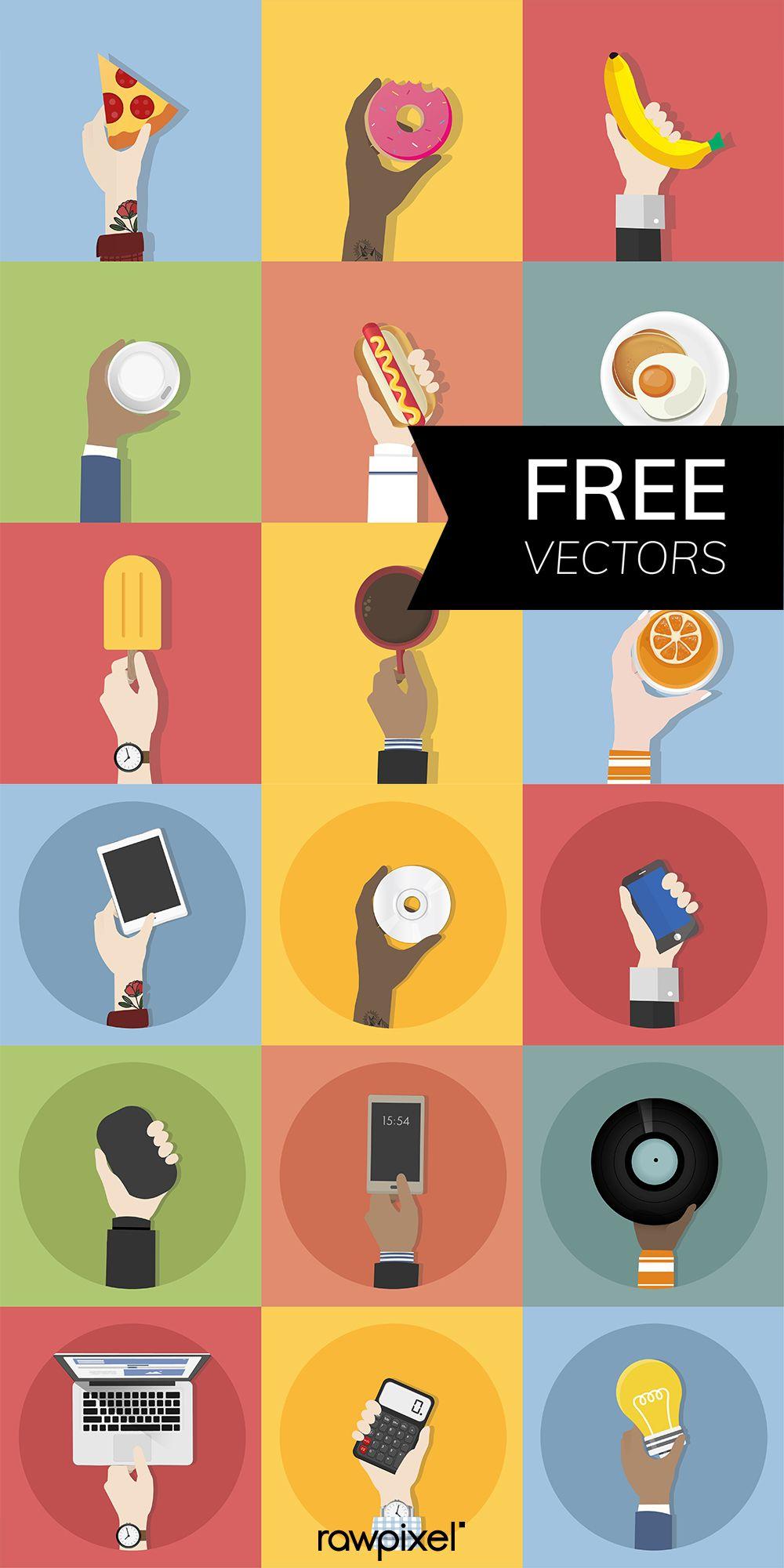 Download free vectors of Conceptual Hand Icons at rawpixel