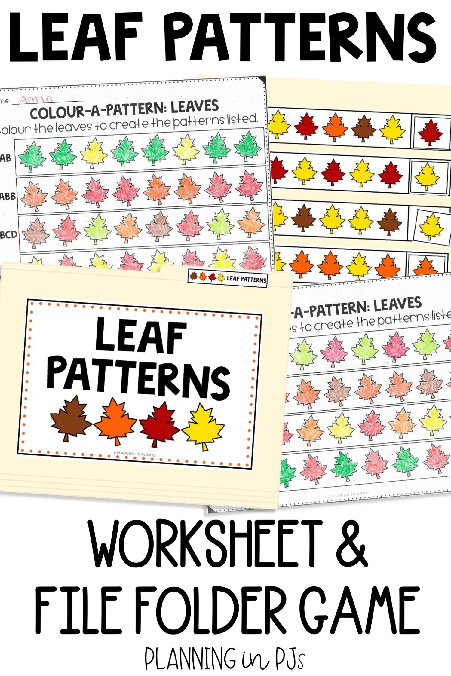 Leaf Patterns Worksheets File Folder Game