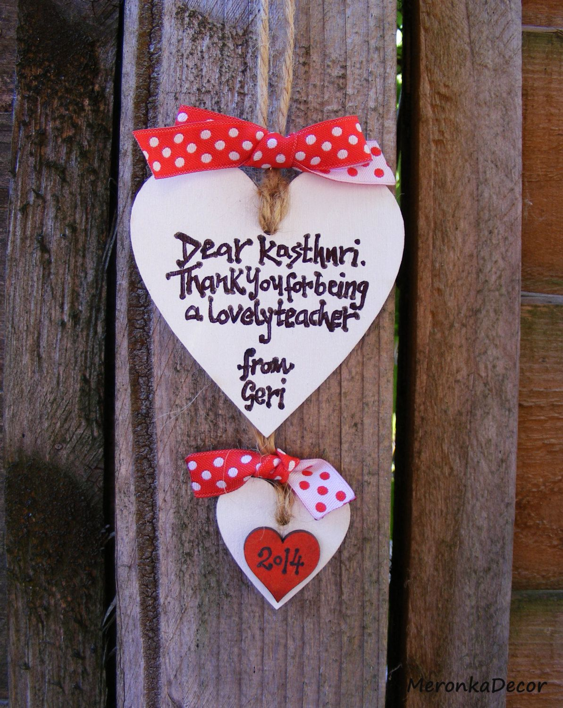 Teacher Thank you heart. Personalised handmade by MeronkaDecor ...