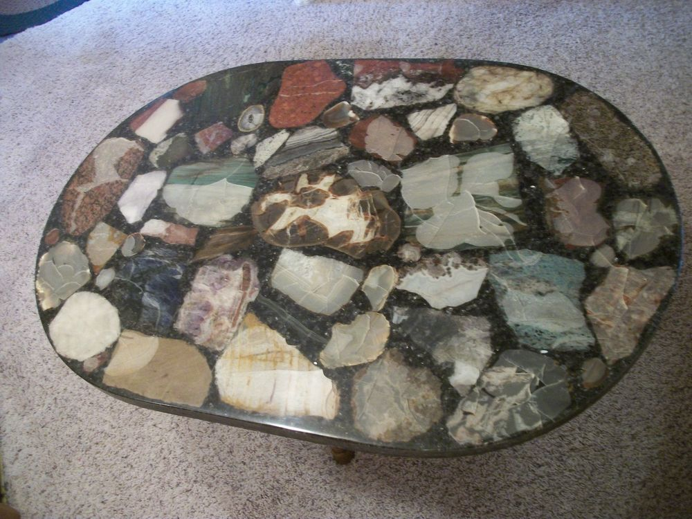 Vintage Rock/Stone Resin Inlay Coffee Table $160