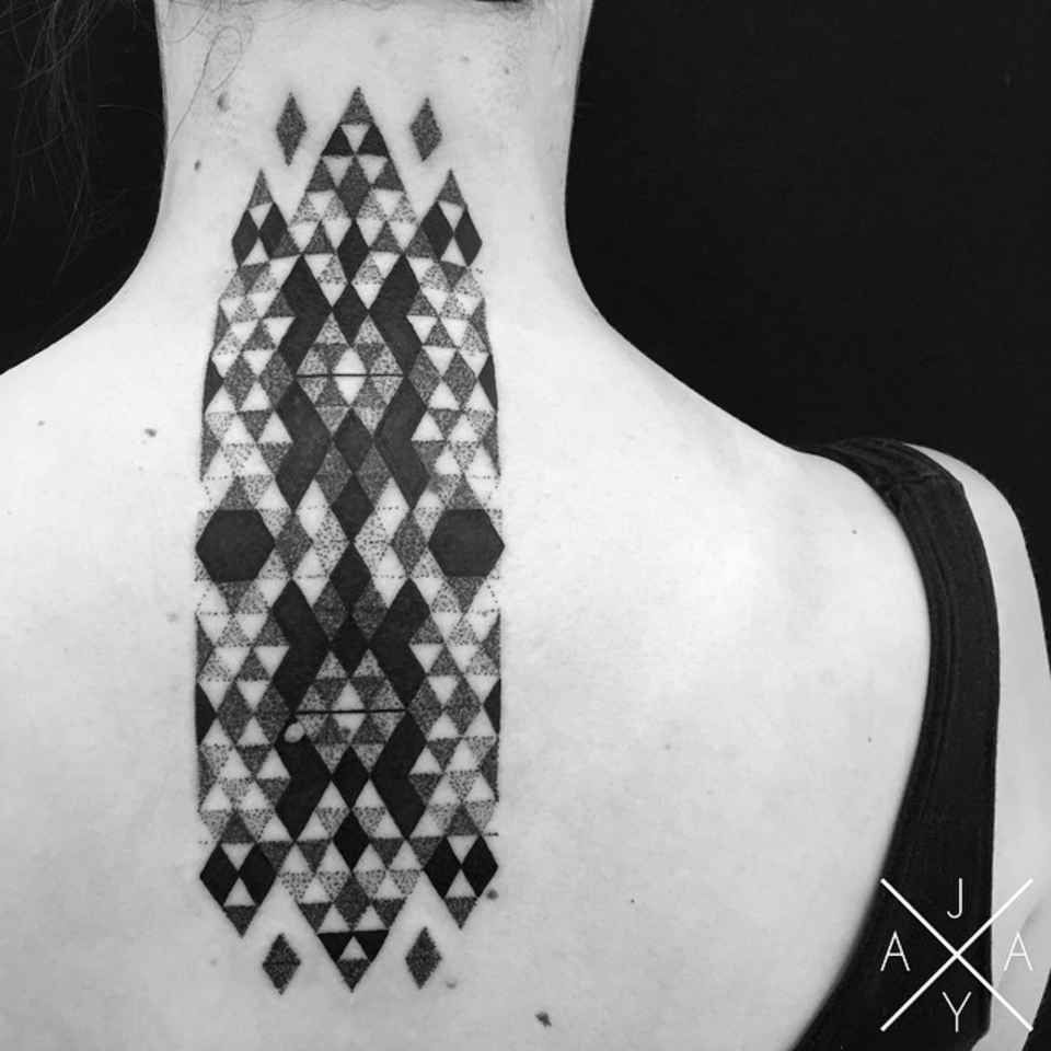 Minimal Geometric Tattoos Brought To Life With Bursts Of Colour - Minimal geometric tattoos brought to life with bursts of colour