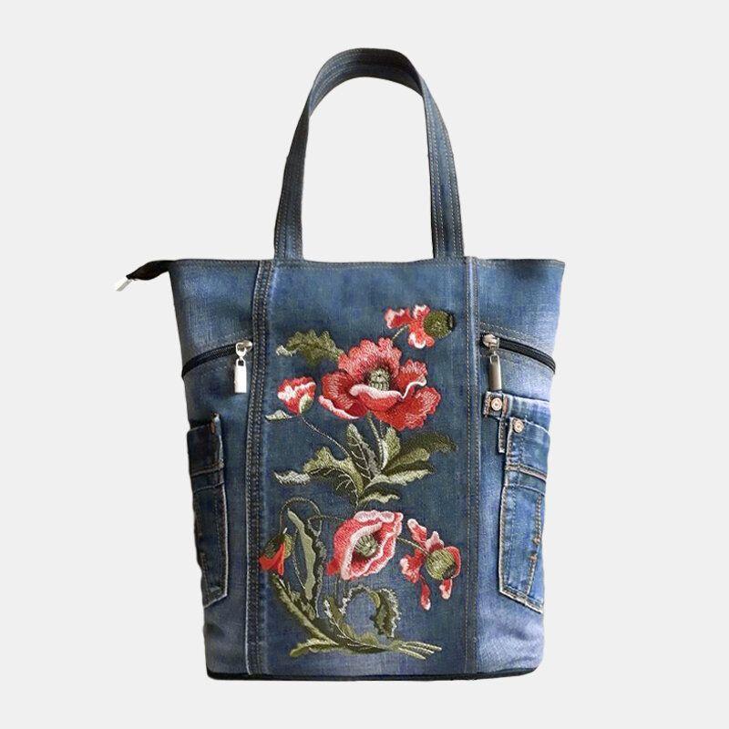 Denim Floral Tote Bag