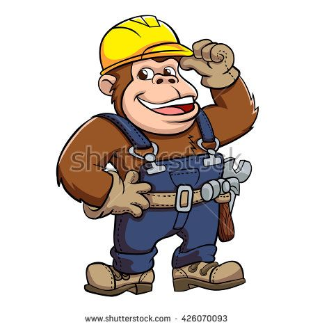 Cartoon of a Gorilla Handyman .
