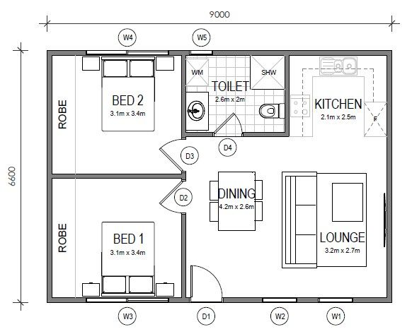 Granny Flats Gs Building Plan Appartement Plan Maison Appartement 2 Chambres