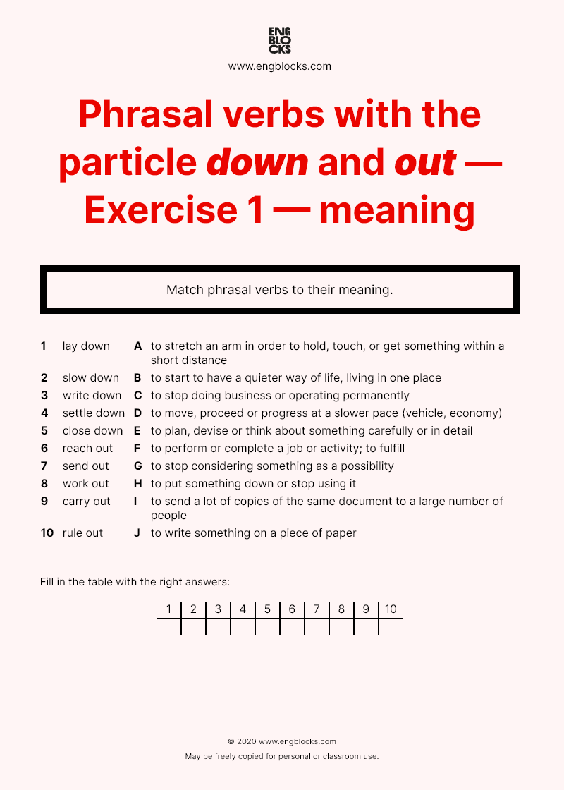 Phrasal Verbs With The Particle Down And Out Exercise 1 Meaning Esl Worksheets English Grammar Verb Meant To Be [ 1120 x 800 Pixel ]