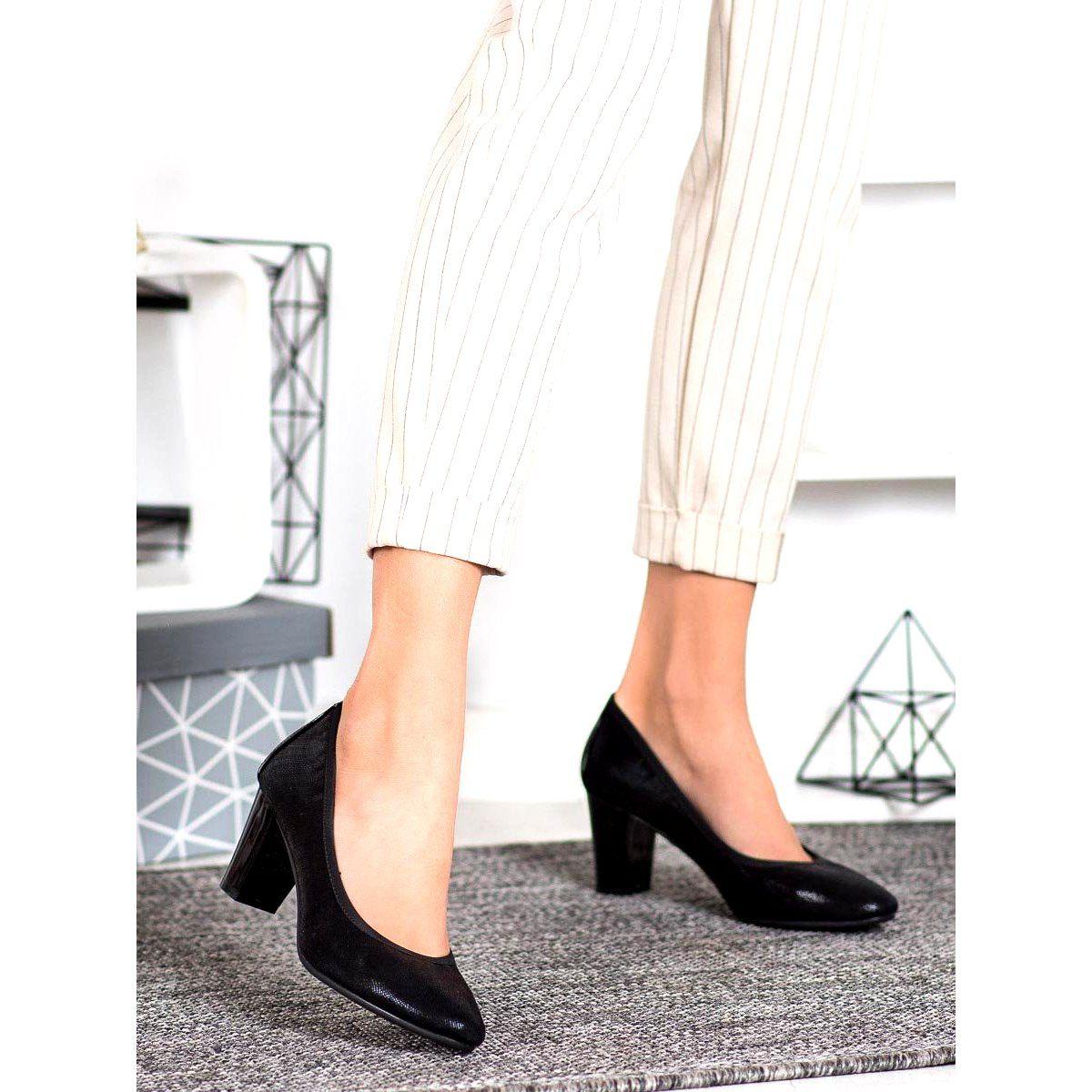 Sergio Leone Wygodne Czarne Czolenka Heels Shoes Pumps