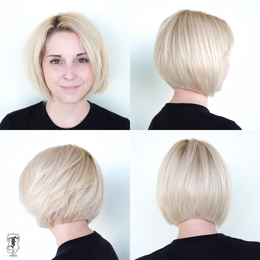 Platinum Slightly Graduated Bob With Blunt Edges The Latest Hairstyles For Men And Women 2020 Hairstyleology Damp Hair Styles Hair Styles Graduated Bob Haircuts