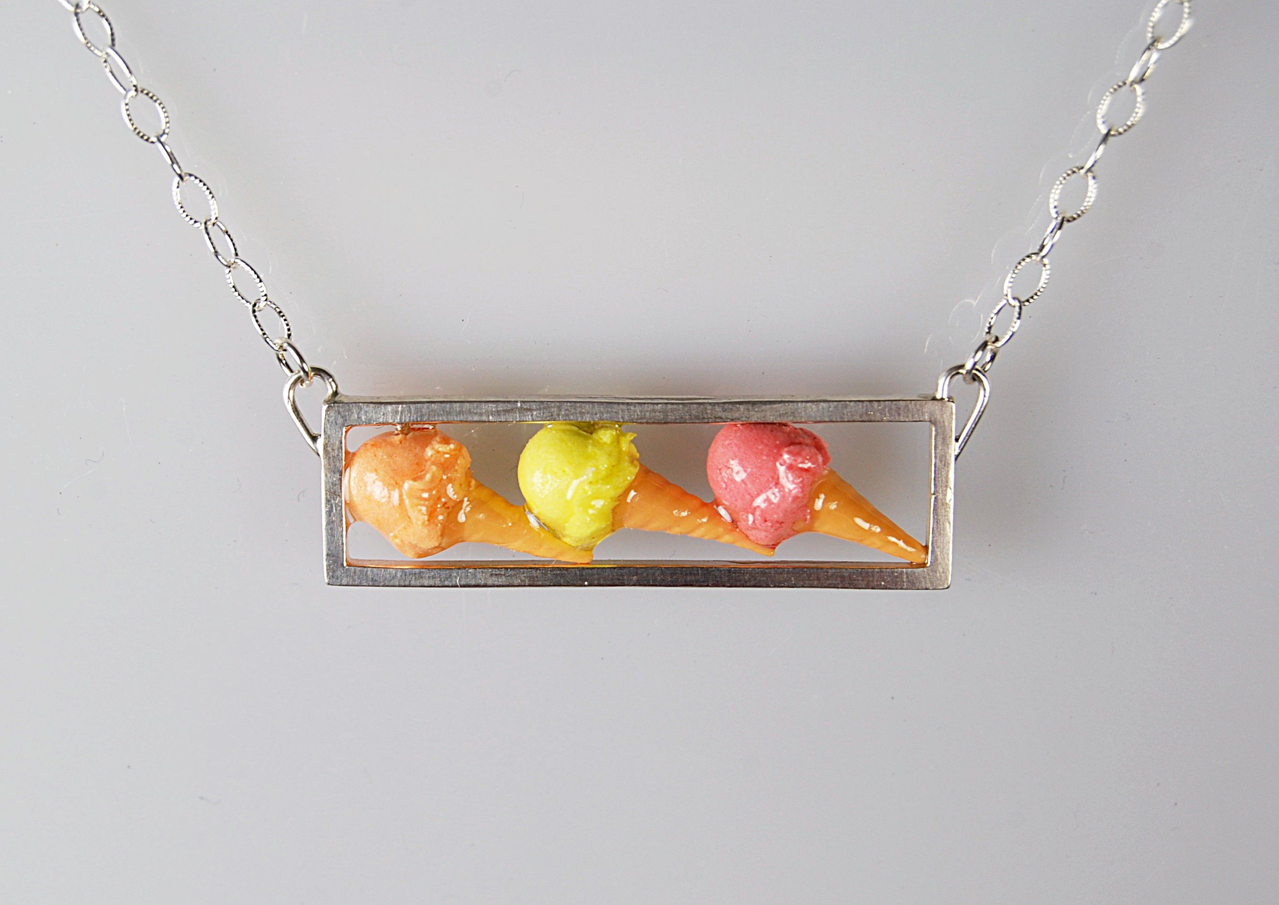 3-Cone Ice Cream Cone Necklace