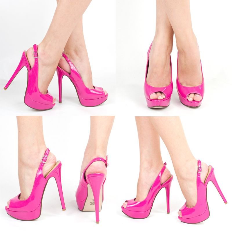 Details about FUCHSIA HOT PINK OPEN PEEP TOE HIGH HEEL PLATFORM