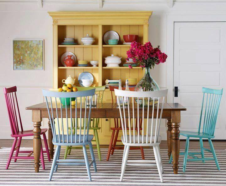 Tu comedor con sillas de diferentes #colores. | Mesas de ...