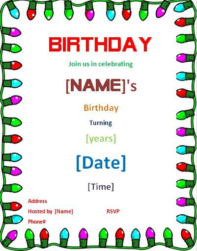 Birthday party invitation card DOWNLOAD at