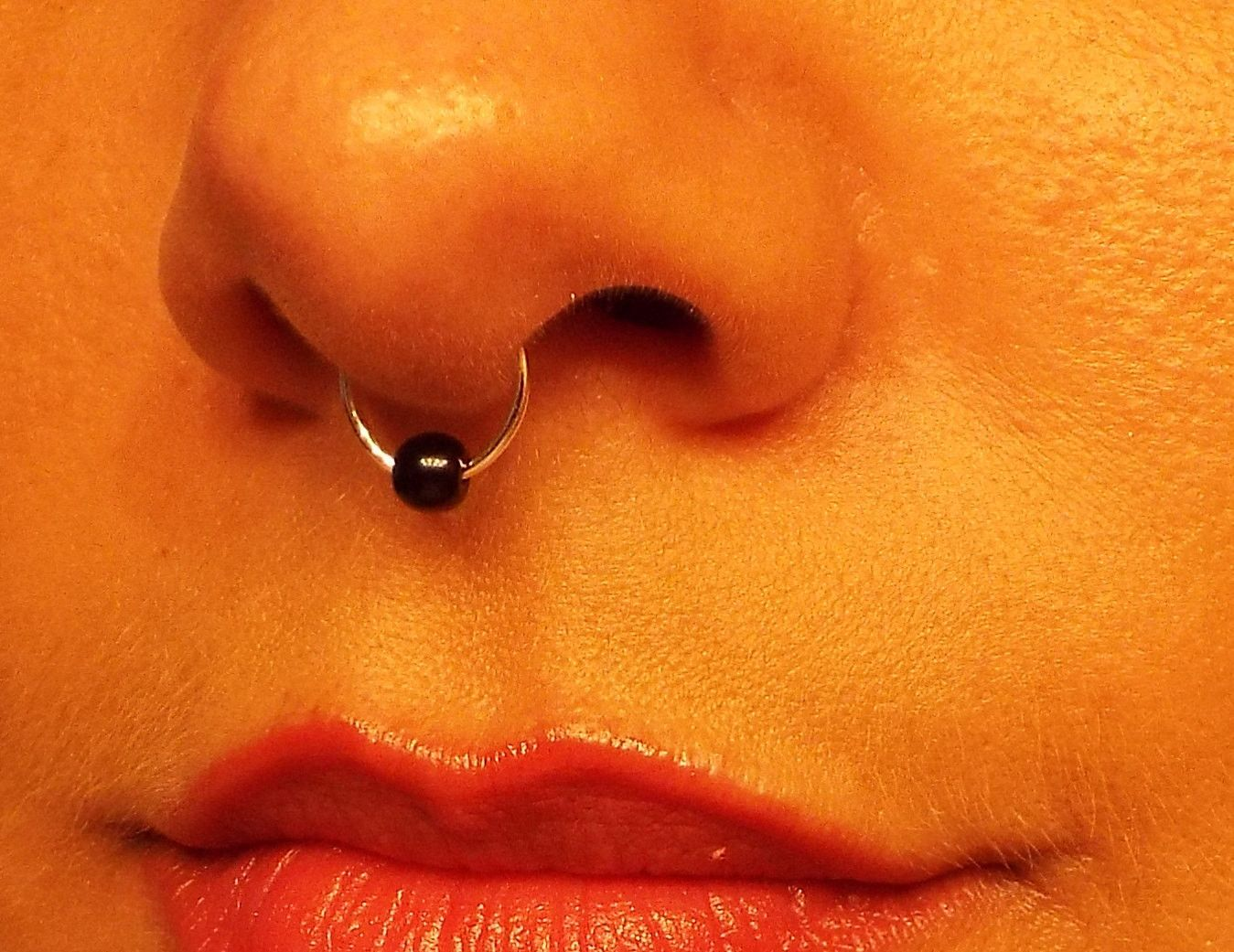 Without piercing nose ring  Silver Bead Septum Ring Fake No Piercing Needed Wire Nose Ring