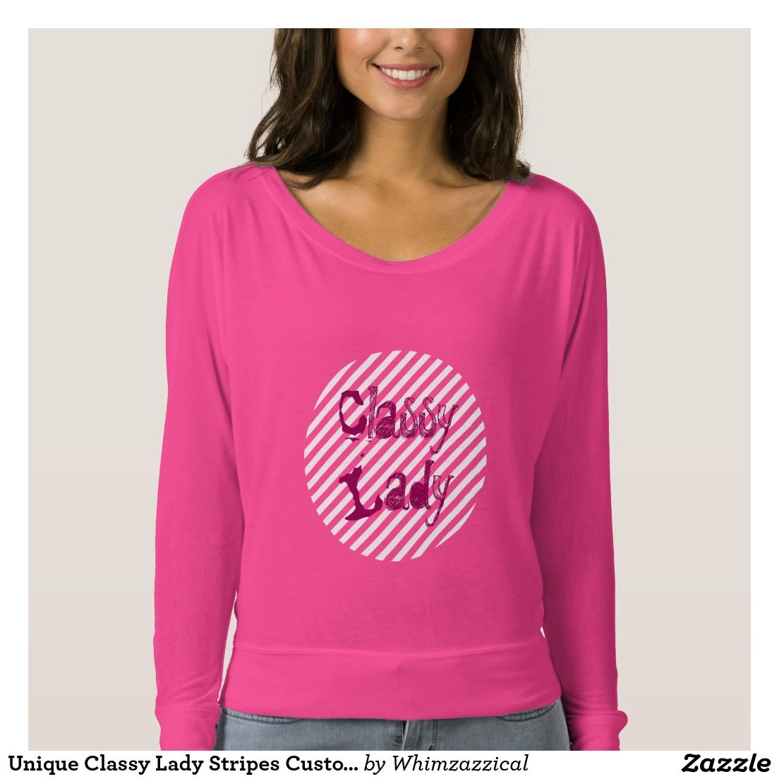 Unique Classy Lady Stripes Customizable Tshirts